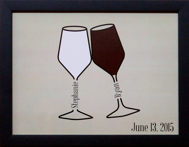Personalized Couples Wine Glass Print