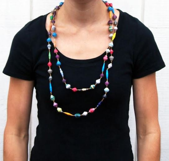 Long Ugandan Magazine Necklace