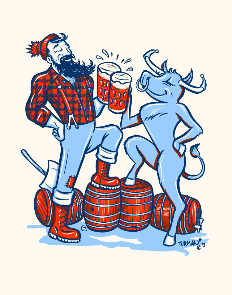 Paul Bunyan and Babe Cheers! Art Print - Adam Turman