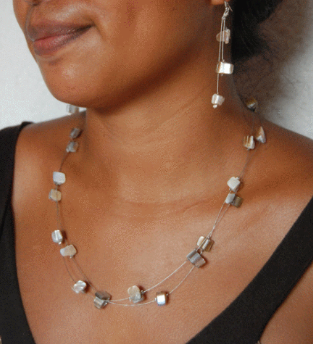 Handmade Floating Wire Necklace and Earring Set