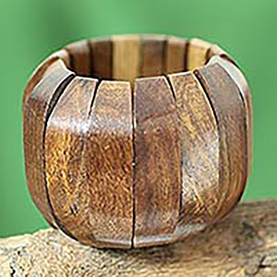 Handcrafted Wood Stretch Bracelet from India Jewelry, 'Delhi Casual'