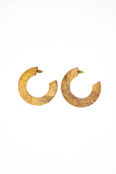Wood Mango Statement Hoops - Mango + Main