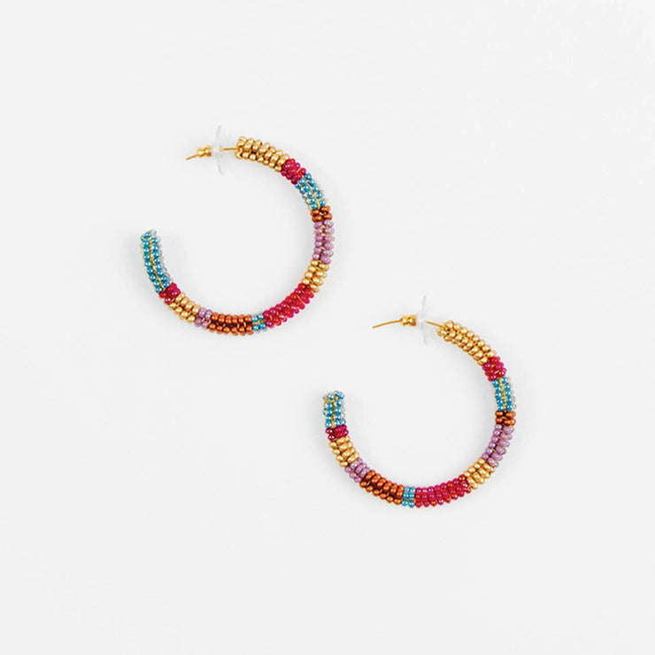 Striped Hoop Post Earring