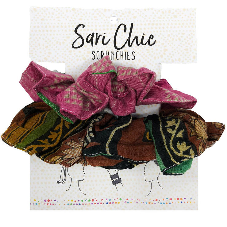 Sari Chic Scrunchies - Set of 2 - Mango + Main
