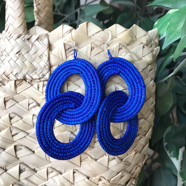Interlocking Earrings - Royal Blue - Mango + Main