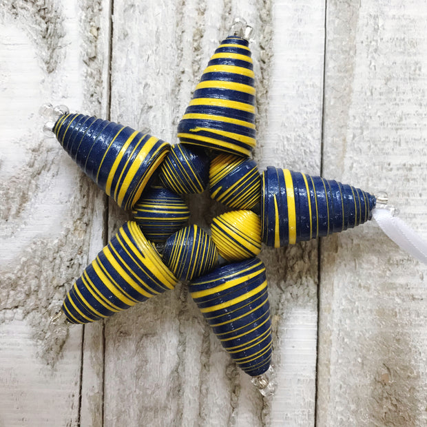 Star Ornament - Navy & Yellow