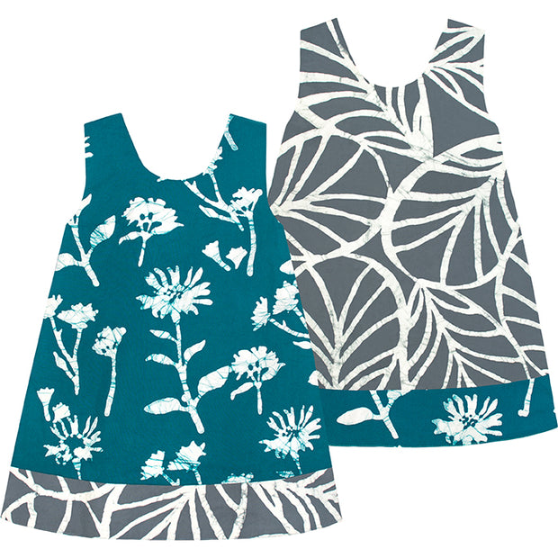 Baby Reversible Dress - Teal Wildfower