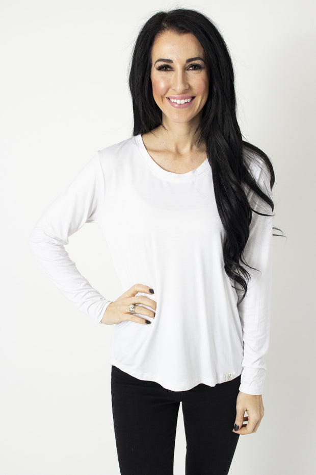 White Long Sleeve Scoop Tee (XL)
