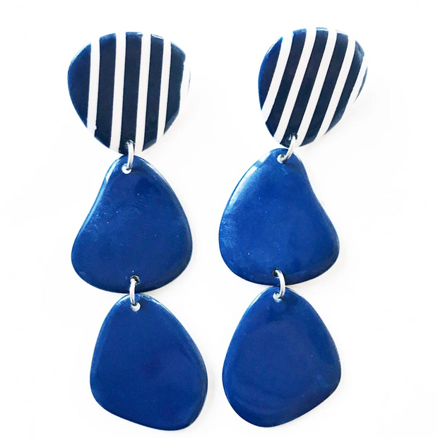Oblong Drop Stripe Earrings - Mango + Main
