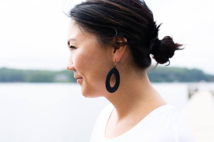 Woven Loop Earrings- Black - Mango + Main