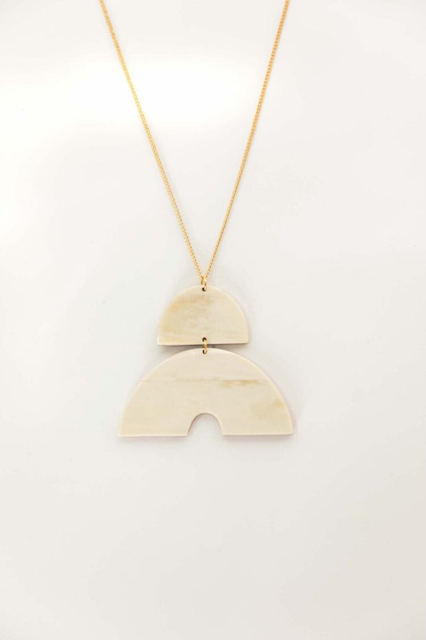 Arc Pendant Necklace - Bone
