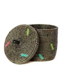 Black Confetti Woven Storage Container