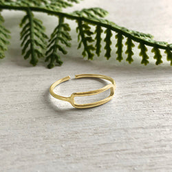 Rippled Rectangle Ring - Gold