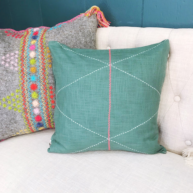 Criss Cross Pillow Cover - Green