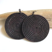Woven Disc Earrings- Black - Mango + Main