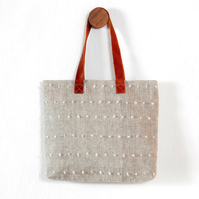 Handwoven Textured Tote - Natural Tone