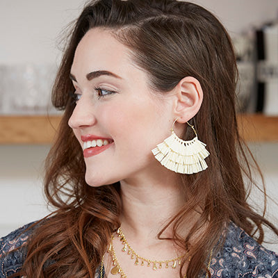 Ruffled Rafia Hoops - Mango + Main
