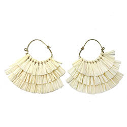 Ruffled Raffia Hoops - Mango + Main