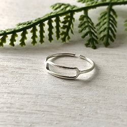 Rippled Rectangle Ring - Silver