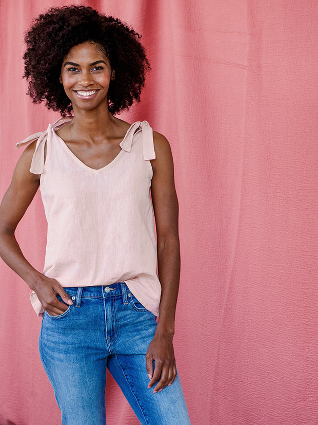 Two Way Tank - Pink Linen - Mango + Main