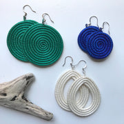 Small Woven Disc Earrings- Green - Mango + Main
