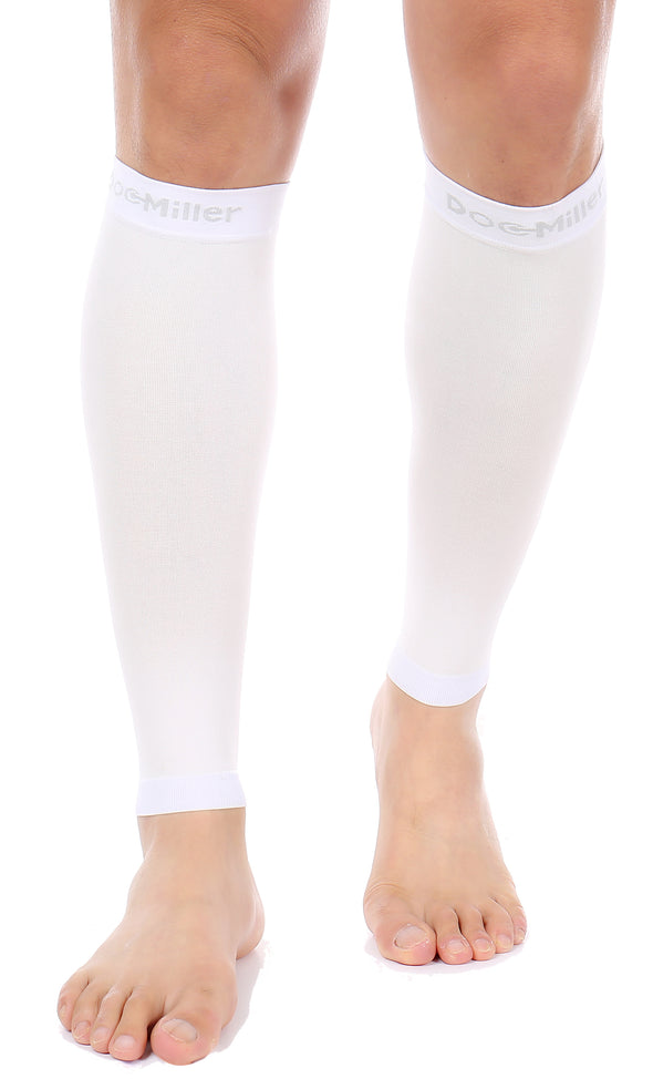 Premium Calf Compression Sleeve 15-20 mmHg WHITE by Doc Miller