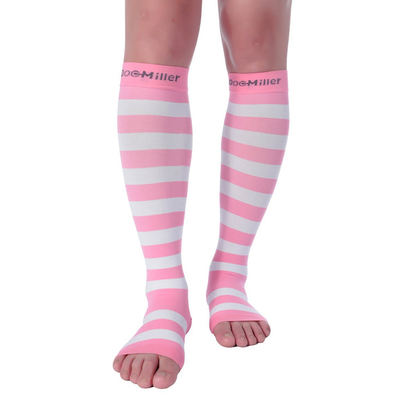 Open Toe Compression Sleeve 15-20 mmHg PINK/WHITE