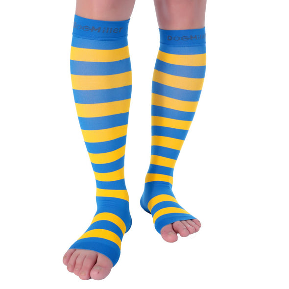 Open Toe Compression Sleeve 15-20 mmHg BLUE/YELLOW by Doc Miller