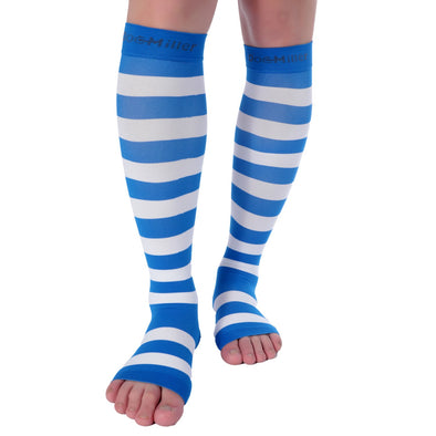 Open Toe Compression Sleeve 15-20 mmHg BLUE/WHITE by Doc Miller