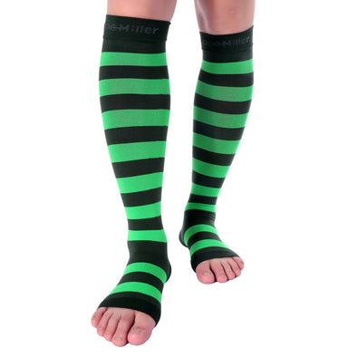 Open Toe Compression Sleeve 15-20 mmHg DARK GREEN/GREEN by Doc Miller