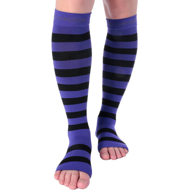 Open Toe Compression Sleeve 15-20 mmHg PURPLE/BLACK
