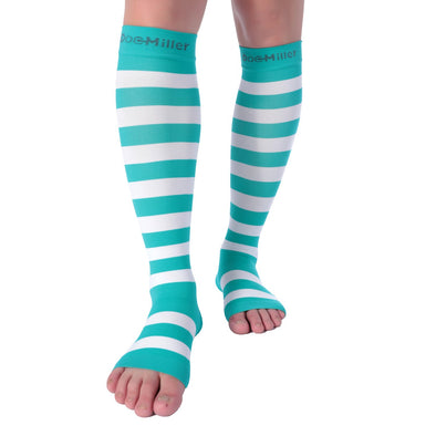 Open Toe Compression Sleeve 15-20 mmHg TEAL/WHITE