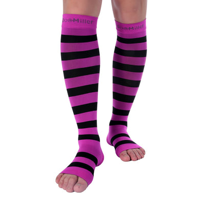 Open Toe Compression Sleeve 15-20 mmHg PINK/BLACK by Doc Miller