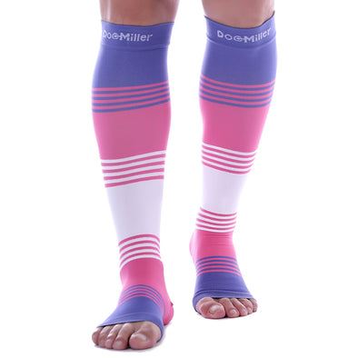 Open Toe Compression Socks 20-30 mmHg VIOLET/PINK/WHITE by Doc Miller