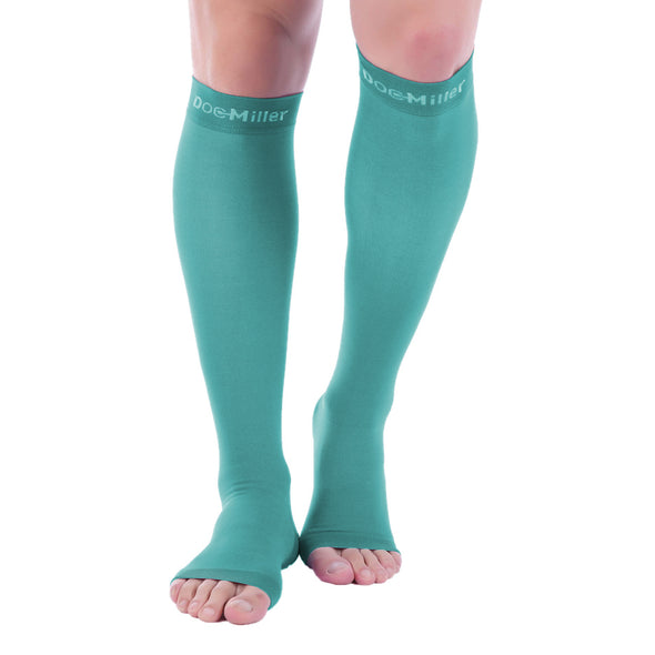 Open Toe Compression Socks TEAL