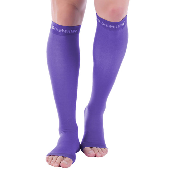 Open Toe Compression Socks 20-30 mmHg VIOLET by Doc Miller