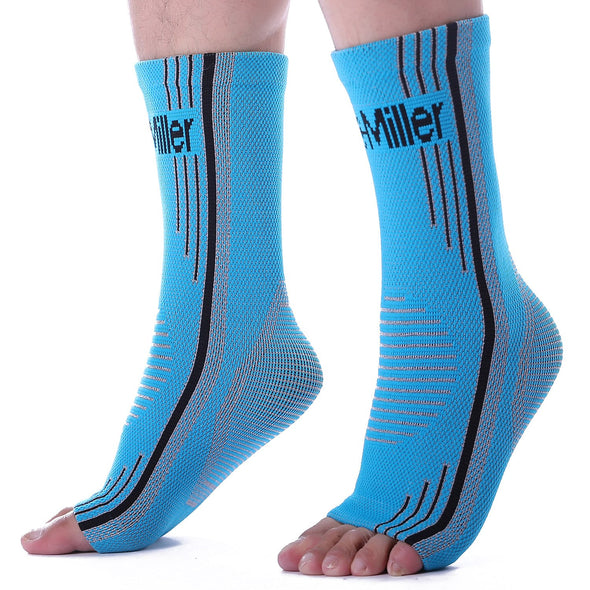 Solid Blue Ankle Brace Compression Sleeves for Foot Pain and Swelling