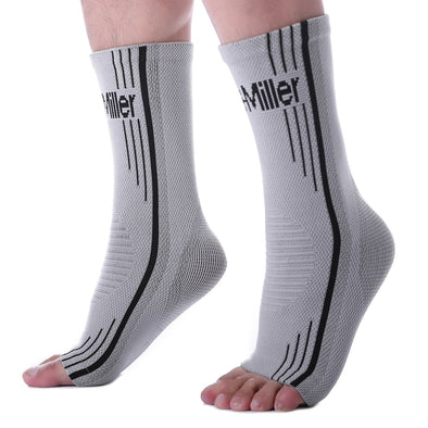 Solid Gray Ankle Brace Compression Sleeves for Foot Pain and Swelling