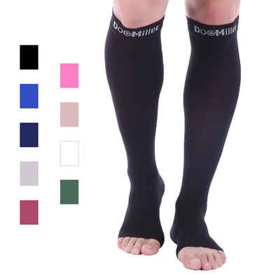 Open Toe Compression Socks Black
