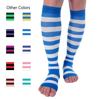 Open Toe Compression Sleeve 15-20 mmHg Stripes White and Blue