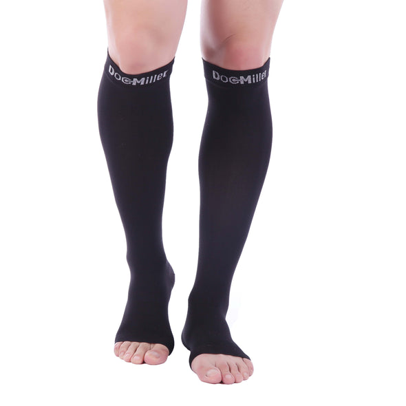 Open Toe Compression Sleeve 15-20 mmHg BLACK by Doc Miller Black