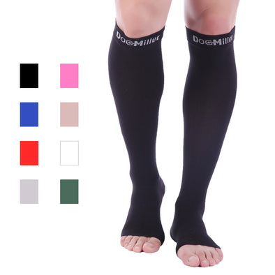 Open Toe Compression Sleeve 15-20 mmHg Black
