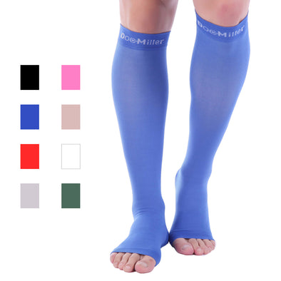 Open Toe Compression Sleeve 15-20 mmHg Blue