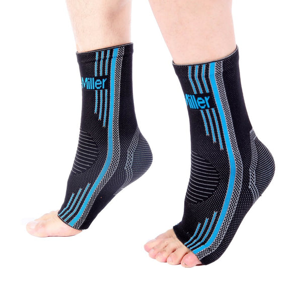 Blue Ankle Brace Compression Sleeves for Foot Pain and Swelling