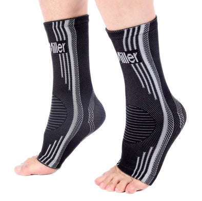 Gray Solid Blue Ankle Brace Compression Sleeves for Foot Pain and Swelling