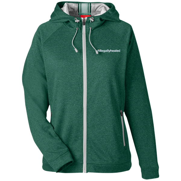 Team 365 Ladies Heather Performance Hooded Jacket