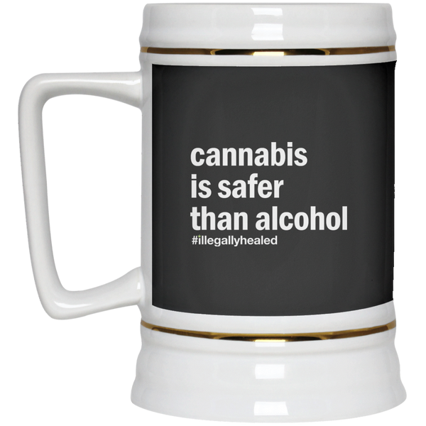 Cannabis is Safer Than Alcohol NOT-A-BEER Stein - 22 oz