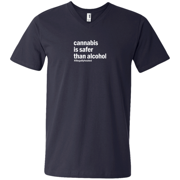 Cannabis is Safer Than Alcohol V-Neck T