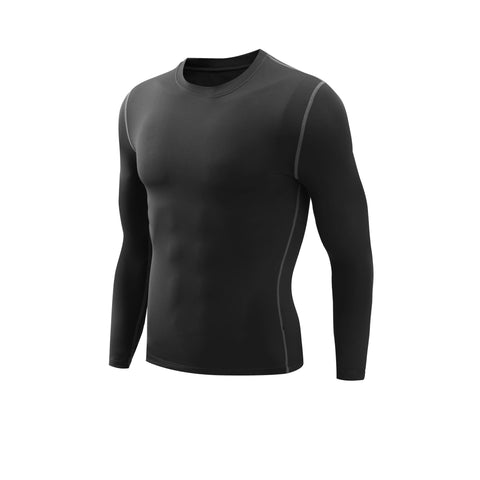 Mens Thermal SubZero Fleece Compression Long Sleeve Shirts - Black / M - Compression Shirts