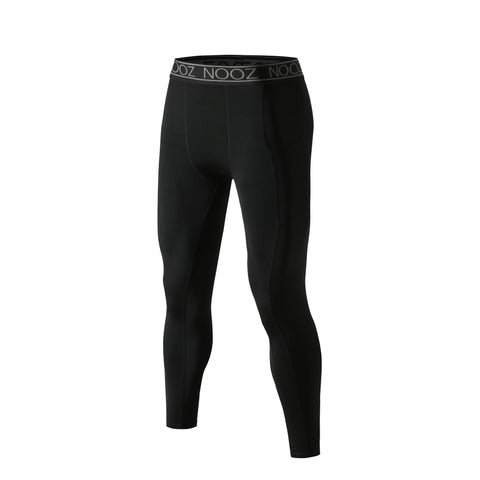 NOOZ All-season Mens cool dry Capri Baselayer Compression Pants w/ Phone Pocket - Black / Small - Compression Pants